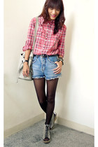 red plaid bench shirt - heather gray from singapore bag - blue thrifted shorts -