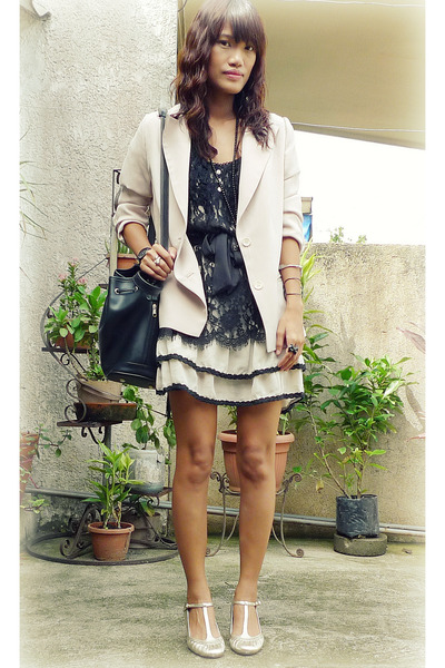beige thrifted blazer - black thrifted dress - gold elle shoes - black thailand
