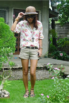 white thrifted shirt - brown Zara shorts - black from friend shoes