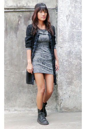 black Archive Clothing top - gray Fornari dress - doc martens shoes