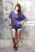 blue vintage thrifted top - blue acid wash shorts