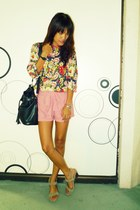 navy vintage shirt - bubble gum fashiostopshop shorts - beige Celine shoes