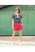 navy bench shirt - red unarosa shorts - white Payless sneakers