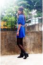 Blue-vintage-top-black-stockings-black-primadonna-shoes-belt