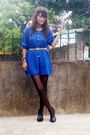 Blue-vintage-top-black-stockings-black-primadonna-shoes-belt