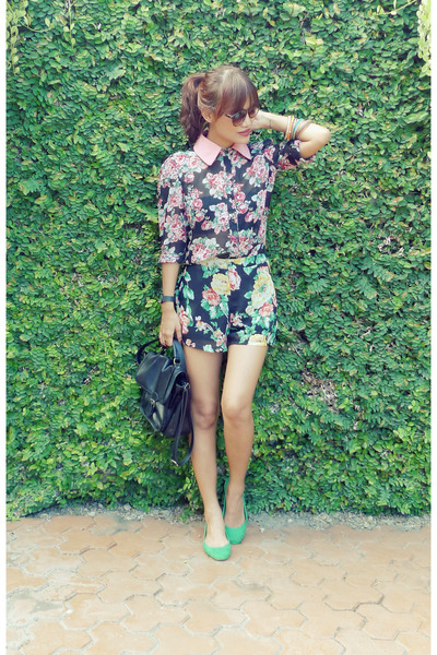 black pinkaholic shorts - salmon pinkaholic top - chartreuse H&M flats