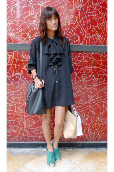 black Archive Clothing dress - green daintyshop shoes - black Forever 21 necklac