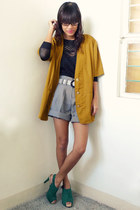 vintage blazer - daintyshop shoes - paperbag Archiveclothing shorts