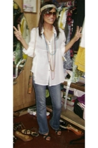 thrifted shirt - prp jeans - random brand shoes - forever 21 necklace - Vintage