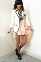 black H&M boots - white vintage blazer - peach from singapore skirt - yellow bow
