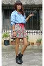 Blue-vintage-shirt-gray-fashionstopshopmultiplycom-skirt-black-soule-phenome