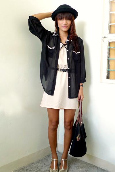 black Trunkshowmultiplycom shirt - nude landmark dress - dark khaki elle shoes -