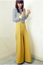 yellow wideleg unarosa pants - black tassel Bubbles necklace