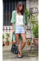 white Forever 21 top - blue thrifted shorts - black from vietnam shoes - green h