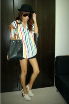 white thrifted shirt - white golddotmultiplycom clogs - black thailand bag - bla