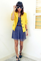 black Forever 21 shoes - violet Archive dress - yellow vintage blazer - brown vi