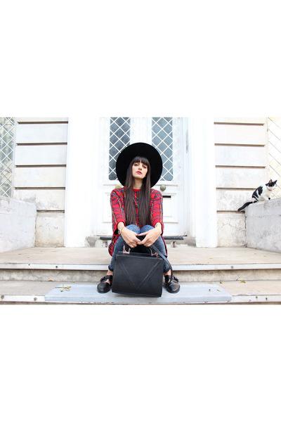 black brimmed hat H&M hat - navy skinny jeans Topshop jeans
