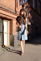 ruby red vintage bag - sky blue denim Zara skirt - heather gray Zara flats