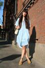 Light-blue-monki-shirt-ivory-leather-vintage-bag