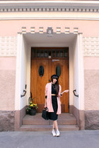 black bowler H&M hat - light pink wool vintage coat - black leather Topshop bag