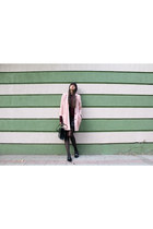 light pink oversized vintage coat - black Stradivarius dress