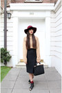 Black-topshop-boots-brick-red-fedora-vintage-hat-camel-wool-handmade-sweater