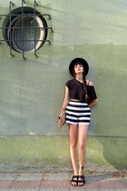black H&M hat - nude leather Bimba & Lola bag - white stripes asos shorts
