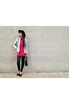 black vintage bag - black skinny jeans Topshop jeans - black H&M hat