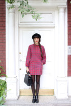 black bowler hat H&M hat - ruby red tartan vintage dress