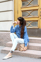 blue denim pull&bear shirt - light blue boyfriend Zara jeans