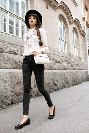 ivory vintage blouse - black skinny Topshop jeans - black fedora H&M hat