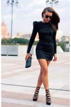 black dress - dark green bag - black heels - dark gray glasses