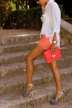 blouse - shirt - bag - heels - heels