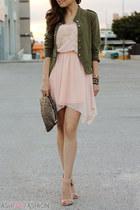 silk dress - vest - heels