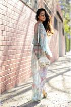 pink dress - light blue dress - white bag - light brown glasses