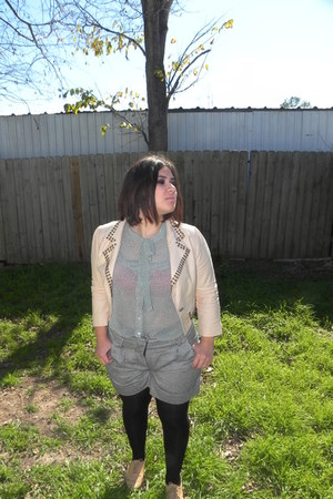 cream Forever 21 blazer - camel oxfords Forever 21 shoes - black HUE tights