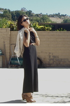 brown vintage belt - brown Jeffrey Campbell boots - black maxi moms dress