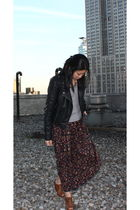 black Topshop jacket - red vintage - mothers skirt - brown Jeffrey Campbell boot