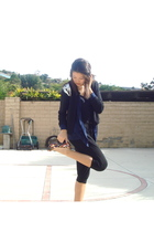 black H&M pants - blue DIY cardigan - red Forever 21 cardigan - Madden Girl shoe