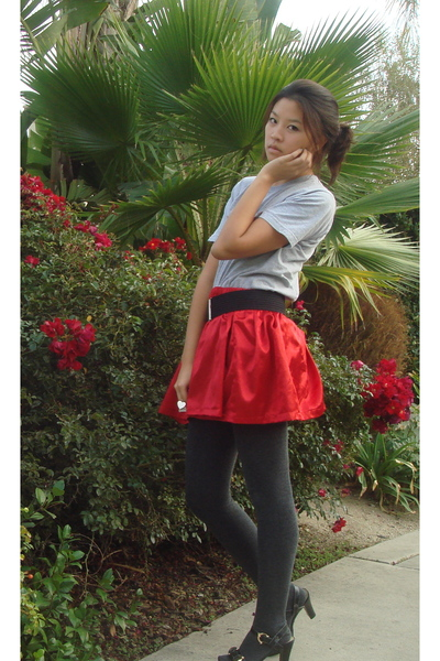 homemade skirt - used to be bfs shirt - Target tights - Forever 21 belt - Shiek