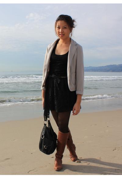 black DIY skirt - black Forever 21 shirt - gray Taiwan street market blazer - bl