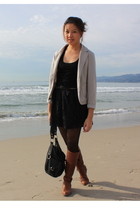 black DIY skirt - black Forever 21 shirt - gray Taiwan street market blazer - bl