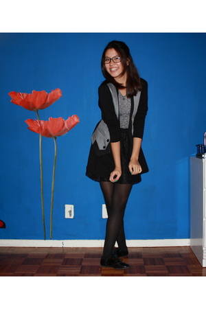 black self-made skirt - black Uniqlo tights - black penny loves kenny shoes - gr