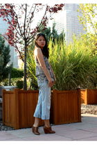 blue DIY jeans - beige Urban Outfitters top - brown Jeffrey Campbell shoes
