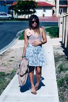 light pink backless Dont Ask Amanda top - sky blue skirt