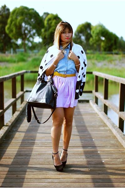 sky blue Miss Selfridge shirt - light purple beginning boutique skirt