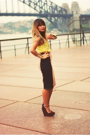 light brown next skirt - yellow beginning boutique shirt - black Topshop wedges