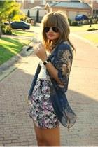 navy kimono Topshop jacket - white polka dots Valley Girl top