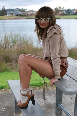 brown Forever 21 clogs - leather vintage shorts - frilly asos socks