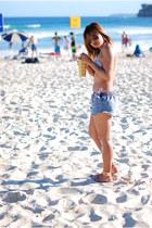 blue chicabooti shorts - white Max Azria swimwear - salmon Topshop sandals